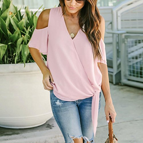 T Blouse Rose Shirt S Courtes Off Couleur Neck XL Guesspower 4 44 Chic Casual V Womens Femme T Tops paule Shirt 36 Manches Chemisiers Casual Ladies d1q71UT4w