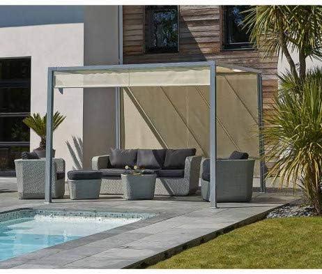 Pergola brise-Soleil Venezia 3 x 3 m en aluminio gris y cortinas en textilène: Amazon.es: Jardín