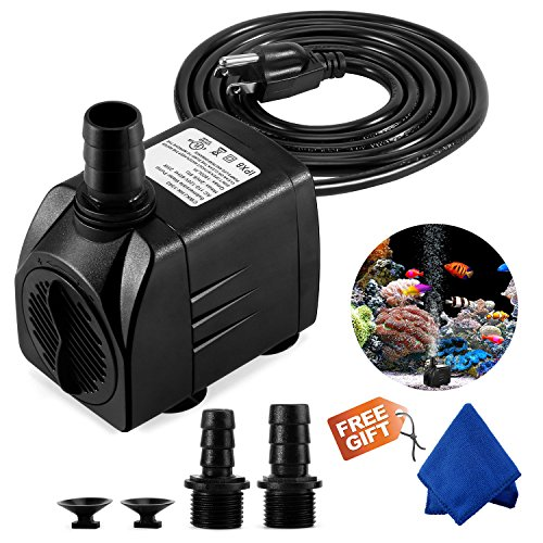 - Fountain Pump, 400GPH Submersible Water Pump, Durable 25W Outdoor Fountain Water Pump with 6.5ft Power Cord, 3 Nozzles for Aquarium, Pond, Fish Tank, Water Pump Hydroponics, Backyard Fountain