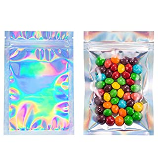 100 Large 4x6 Inches Holographic Bags Baggies Smell Proof Bags Resealable Bags Packaging Bags