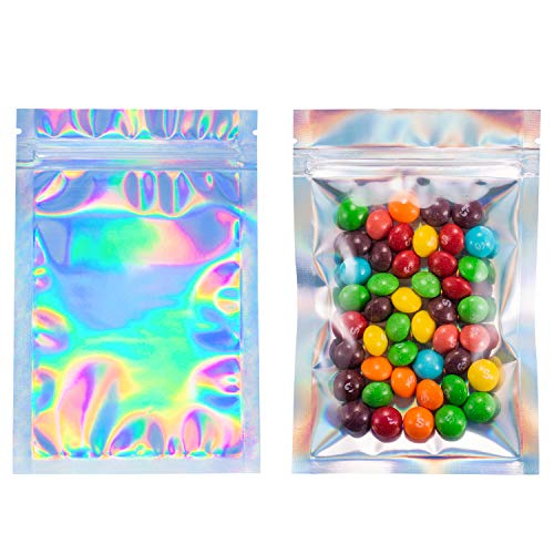 100 Smell Proof Bags - 4x6 Inches Holographic Rainbow Color Mylar Bags by Space Seal FDA Approved Resealable Food Safe Bags]()
