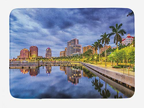 Lunarable Miami Bath Mat, West Palm Beach Florida Waterway Palm Trees Park Stormy Weather City Relaxation Areas, Plush Bathroom Decor Mat with Non Slip Backing, 29.5