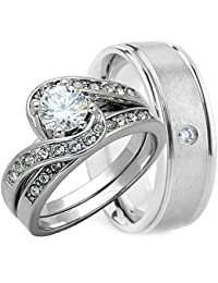 3 Pieces Mens And Womens His Hers 925 Genuine Solid Sterling Silver 8MM Brushed TITANIUM With CZ Stone Engagement Matching Wedding Ring Set