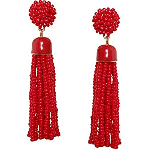 Humble Chic Lightweight Soiree Tassel Earrings - Long Beaded Fringe Drop Statement Dangles, Red, Gold-Tone