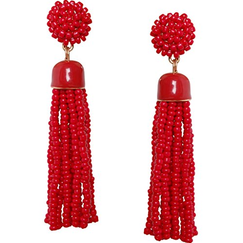 Lime Green Earrings (Humble Chic Lightweight Soiree Tassel Earrings - Long Beaded Fringe Drop Statement Dangles, Red, Gold-Tone)