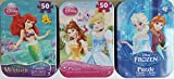 3 Collectible Girls Mini Jigsaw Puzzles in Travel Tin Cases: Disney Kids The Tree Princesses, The Little Mermaid, Frozen Gift Set Bundle (48/50 Pieces)