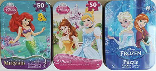 (3 Collectible Girls Mini Jigsaw Puzzles in Travel Tin Cases: Disney Kids The Tree Princesses, The Little Mermaid, Frozen Gift Set Bundle (48/50 Pieces))