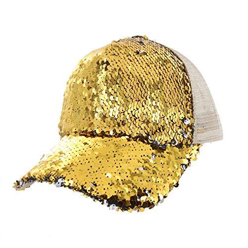 Sequin Baseball Cap (Baseball Cap with Double Sided Sequins Everyday Bling Mesh Trucker Plain Baseball Ball Cap in)