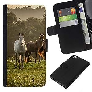 All Phone Most Case / Oferta Especial Cáscara Funda de cuero Monedero Cubierta de proteccion Caso / Wallet Case for HTC Desire 820 // Horses Nature Meadow Fog Mist Field Mustang