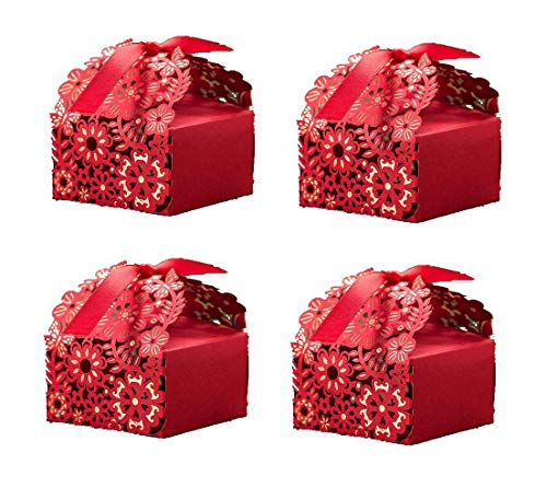 TA BEST 50 Pcs Flower Chinese Red Wedding Candy Box DIY Square Wedding Bridal Party Favor Candy Gift Boxes Casamento Wedding Favors And Gifts event party supplies