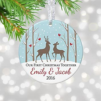 Our First Christmas Together Ornament 2017, Personalized Christmas Ornament  for Couple, Buck and Doe - Amazon.com: Our First Christmas Together Ornament 2017, Personalized