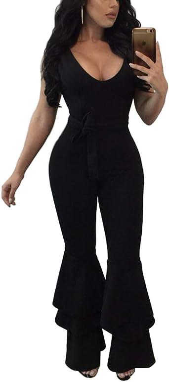Womens Romper Off Shoulder Bandage Bell Long Pants Suits Jumpsuits