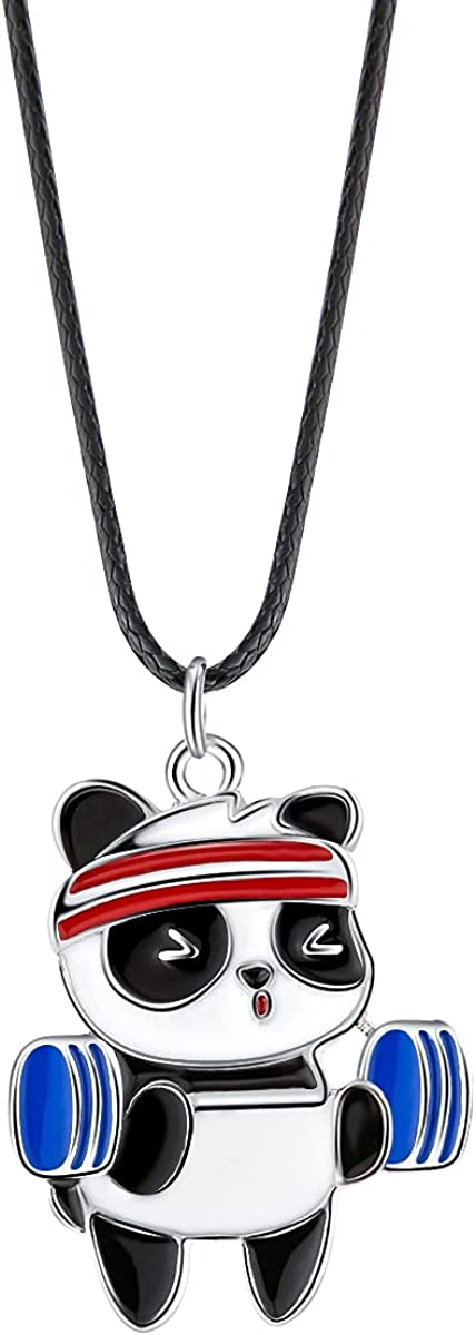 Winssigma Sports Panda Necklace with Black Cord Panda Jewelry Gift for Teen Girls and Boys: Clothing