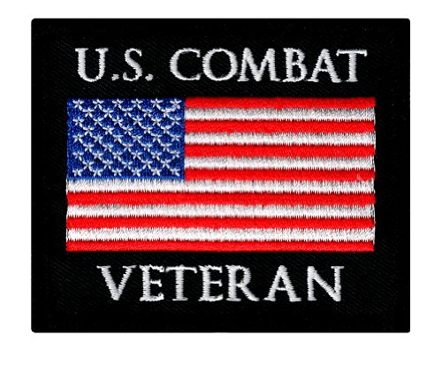 US Combat Veteran Embroidered Patch War Military Iron-On Emblem Vet Flag - Military Vet Patch