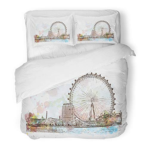 Emvency Decor Duvet Cover Set King Size Eye Watercolor Sketch of Giant Ferry London UK United Kingdom England in Hand City 3 Piece Brushed Microfiber Fabric Print Bedding Set Cover