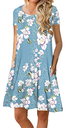 - ETCYY Women's Short Sleeve Summer Floral Casual Swing T-Shirt Dress with Pockets