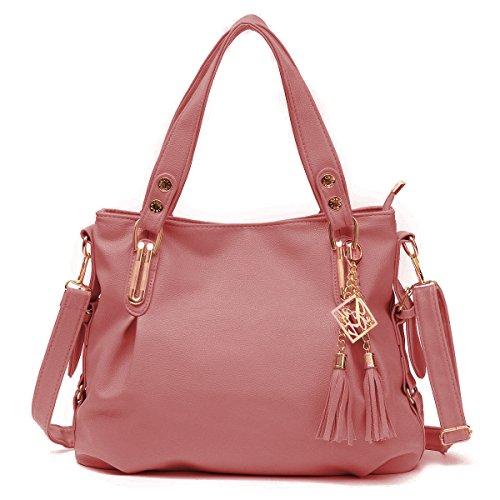 [OURBAG Women's Handbag Soft Leather Tote Shoulder Bag with Tassels Pink] (Pink Soft Leather)