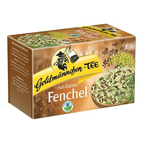 Goldmännchen Tee Fenchel-Anis-Kümmel, Kräutertee, Original Thüringer Qualiät, 20 einzeln versiegelte Teebeutel
