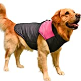 Dog Winter Coat Vest Windproof Warm Dog Clothes Jacket Plus Size for Cold Weather Dog Outdoor Extra Down Jacket Pink - 3XL