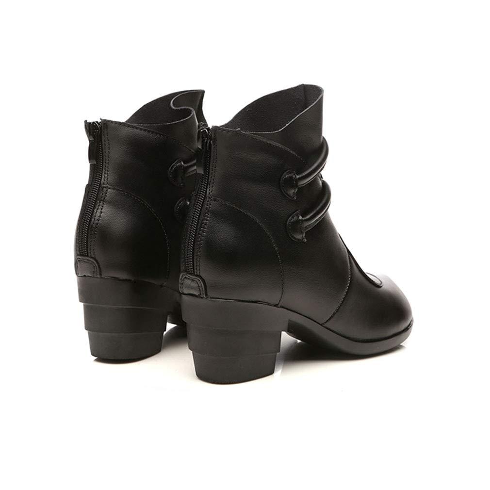 YAN Botas de Mujer Botines de Madre Zapatos de de de Cuero Folk-Custom Botas de tacón Gruesas Damas Vintage Botas de algodón Tacones ásperos (Color : UN, tamaño : 40) 34c3c5