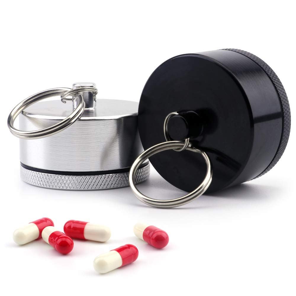 Pill Holders - Keychain Waterproof Single Chamber Stainless Steel Pill Organizer for Outdoor Travel Camping Pill Box