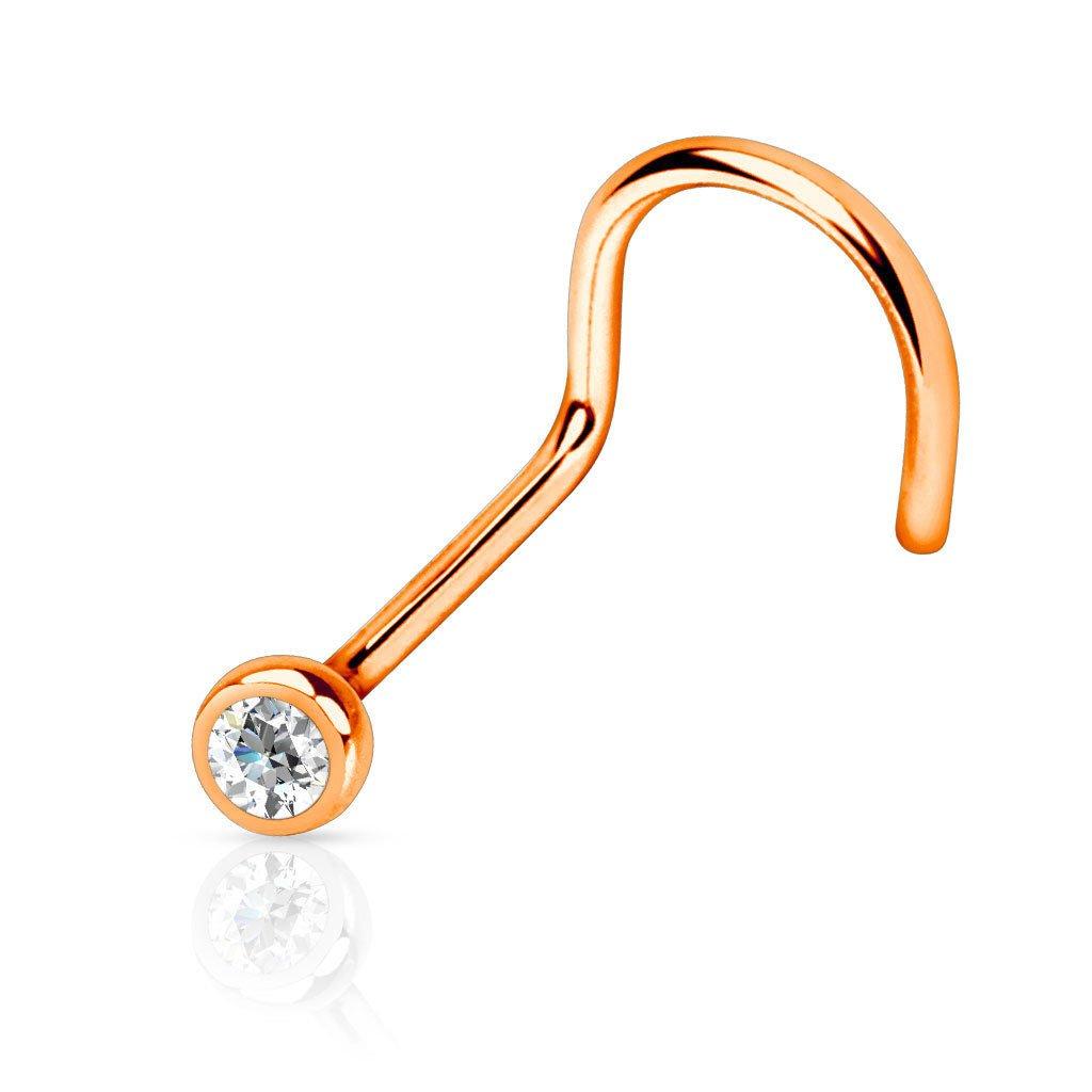 rini/_mc2 1 Pc Press Fit Clear Gem Titanium IP 316L Surgical Steel Nose Screw Stud Ring 20g Rose Gold