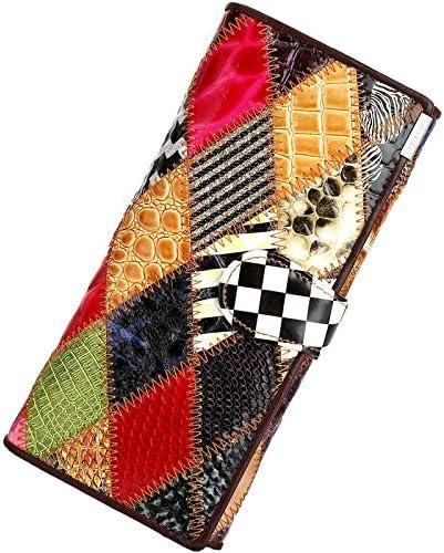Funnmart Women Wallets Retro Long Genuine Leather Luxury Handbags Purse Women Bags Designer Card Holder Ladys Wallet