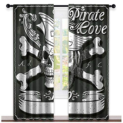 hengshu Pirate, Curtains Modern, Pirate Cove Flag Year of 1650 Vintage Frame Crossbones Floral Swirls Hat Heart, Curtains Kitchen, W72 x L108 Inch Black White ()
