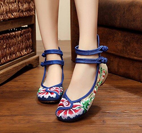 WXT Zapatos bordados finos, lenguado del tendón, estilo étnico, zapatos femeninos, manera, zapatos cómodos, que bailan Yellow