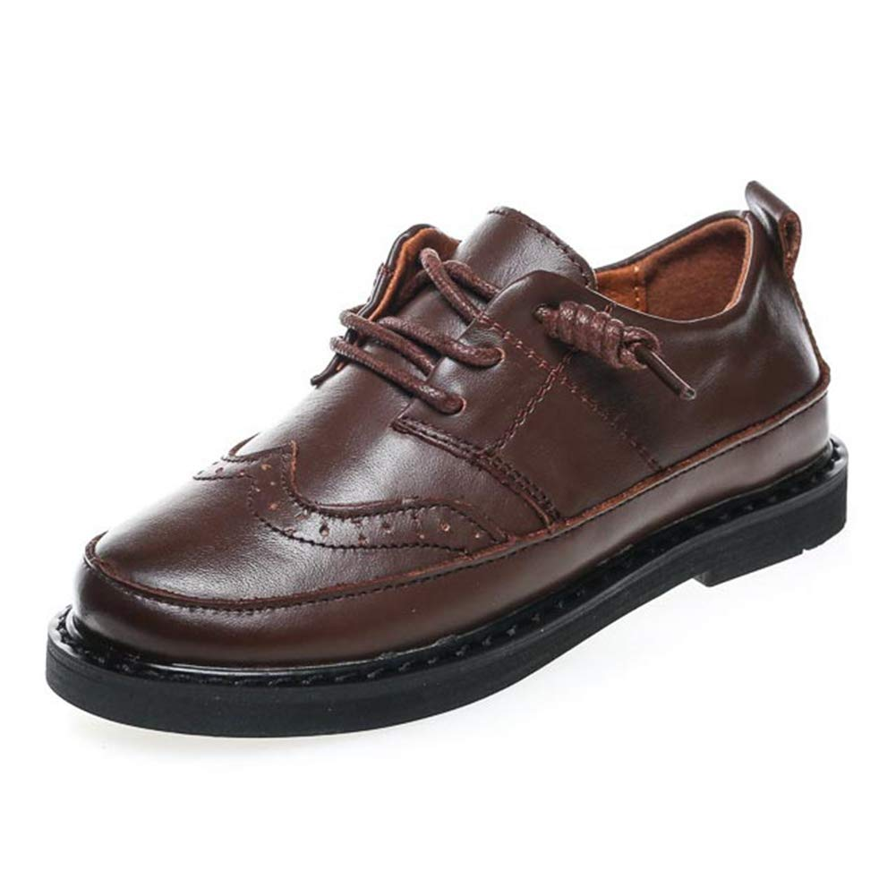 F-OXMY Boys Two Tone Wing Tips Oxfords Dress Shoes Side Zip Casual Shoes (Toddler/Little Kids/Big Kids) Dark Brown