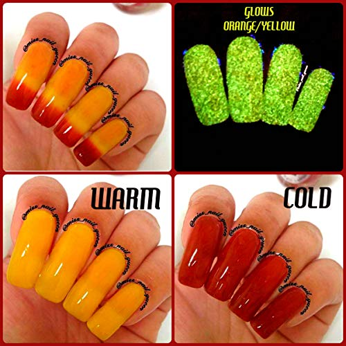 Color Changing Thermal Nail Polish - Ombre Red/Orange/Yellow - Glows Yellow/Orange -