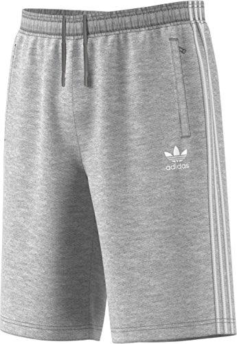 adidas Originals Men's Originals 3 Stripes French Terry Short, Medium Grey Heather/White, 2XL - French Terry Short Short