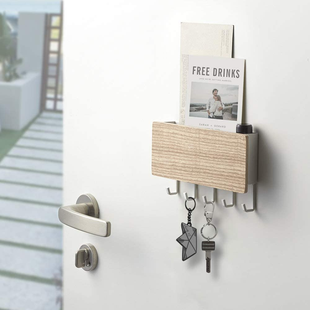 Key Holder For Wall Entryway Mail Holder For Wall Adhesive Key Rack For Wall With 5 Key Hook Wall Key Holder Key Hanger For Wall Mail Organizer Wall Mount For Entryway Mudroom Hallway Beige Office Products
