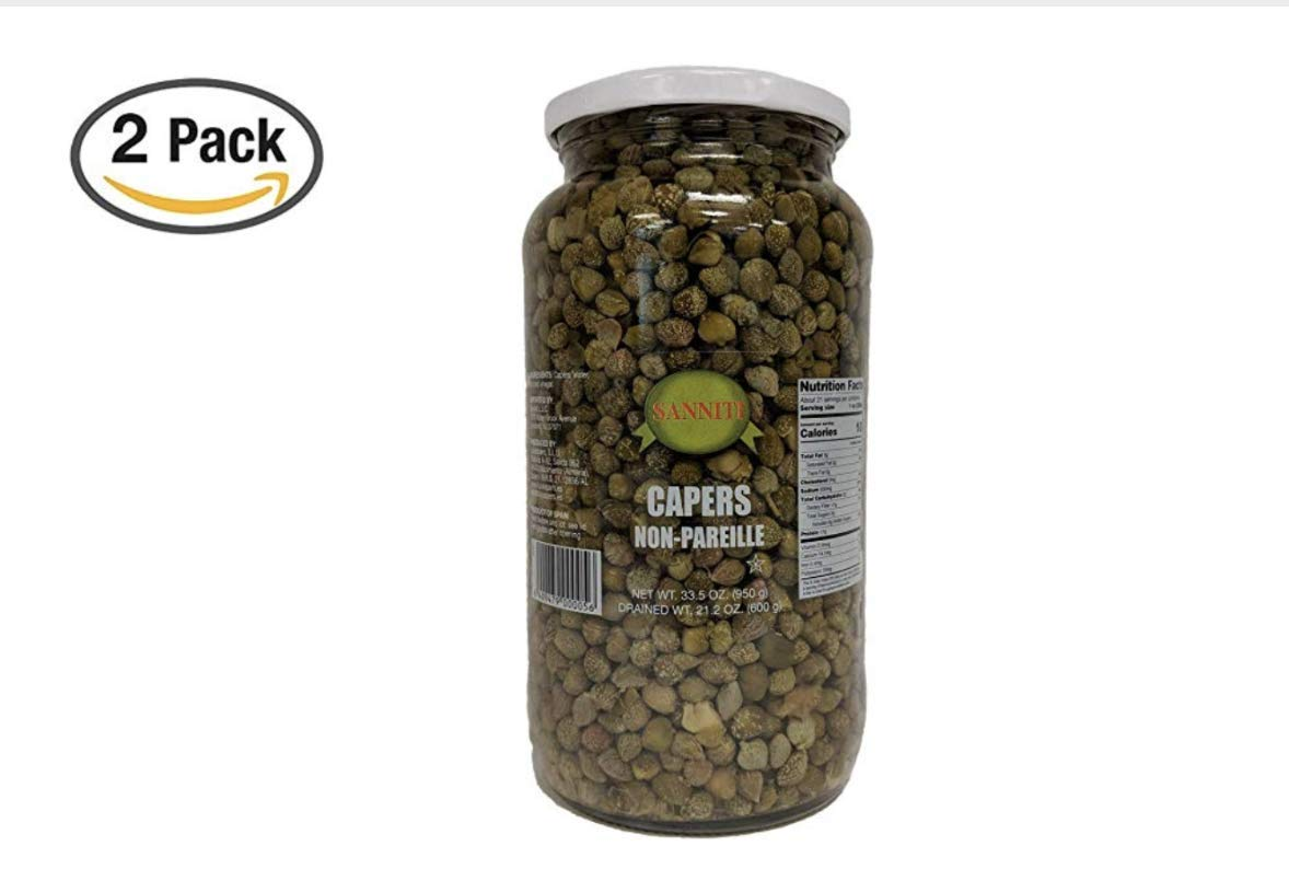 Sanniti Spanish Non Pareil Capers in Vinegar and Salt Brine - 33.5 oz (2 Pack)