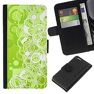Apple iPhone 5C , la tarjeta de Crédito Slots PU Funda de cuero Monedero caso cubierta de piel ( Wallpaper Green Neon Bubbles Circle Dot)