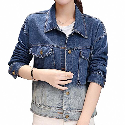 Women Patchwork Feminina Short Single Breasted Denim Jackets Pockets Jean Coats at Amazon Womens Coats Shop