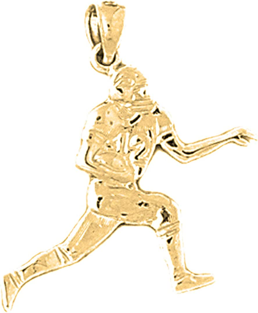 Jewels Obsession Silver Football Player Pendant 14K Yellow Gold-plated 925 Silver Football Player Pendant