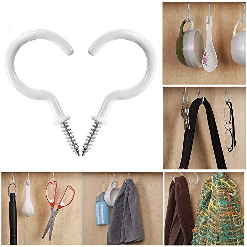 10 x White Ceiling Hook, LtrottedJ Ceiling Hooks Cup Hooks Screw-in Hooks Hanging Plants Mugs Kitchen Utensils 10Pc