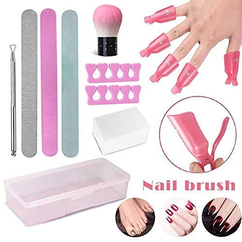 Bulary Gel Nail Polish Remover Kit,Nail Polish Remover Tool with Nail Clips,Nail File,Nail Brush,Triangle Cuticle Peeler Scraper,Finger Separators,Lint Free Nail Wipes for -