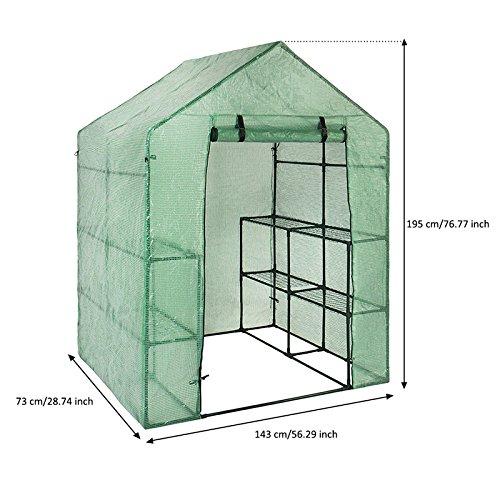 solo la funda, sin soporte de hierro ni macetas Cubierta de pl/ástico para jard/ín invernadero recambiable con 8 estantes en dos alturas,