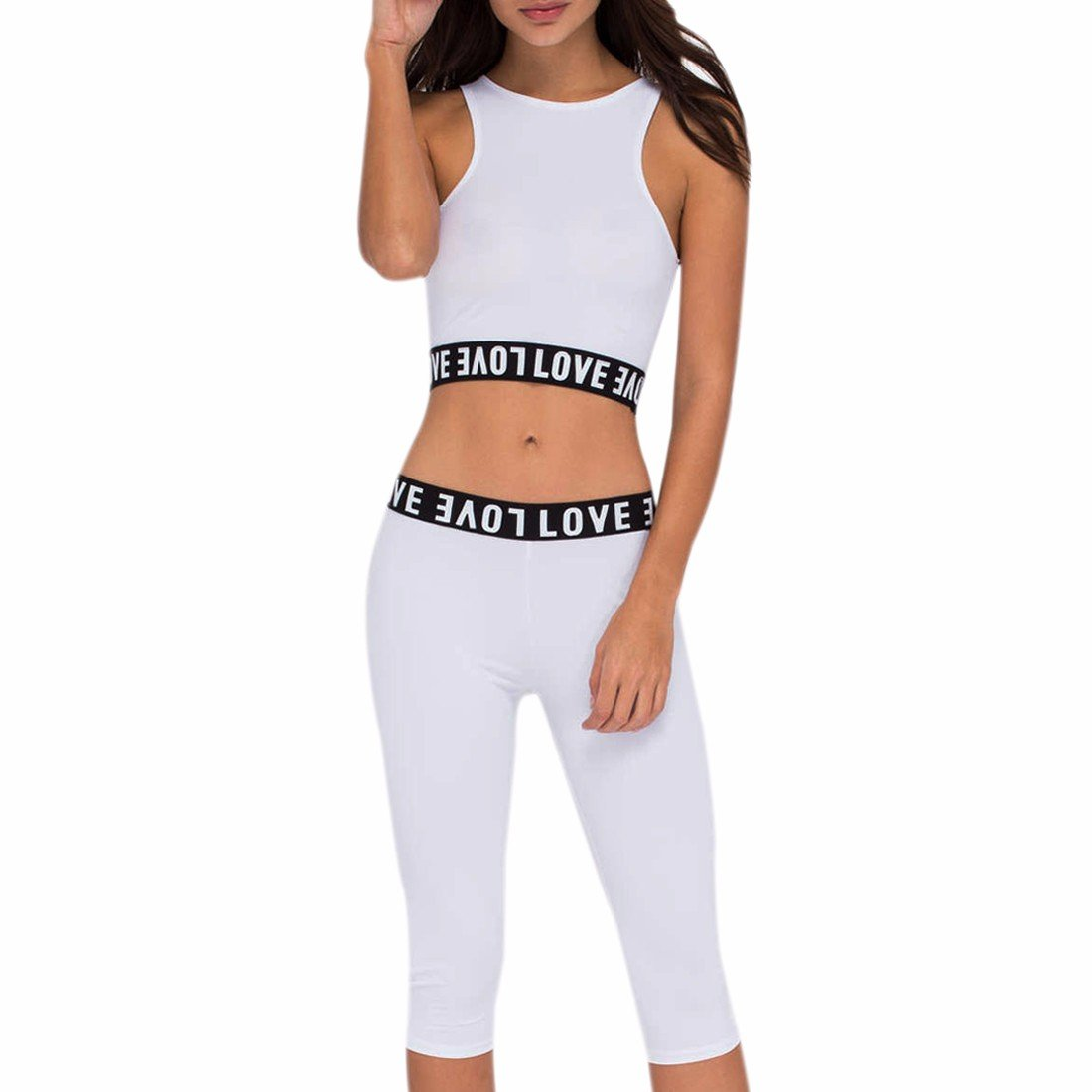 Women'S 2Pcs Tracksuit Bra + Pants Sets Sports Casual Suit Crop Top Yoga Fitness