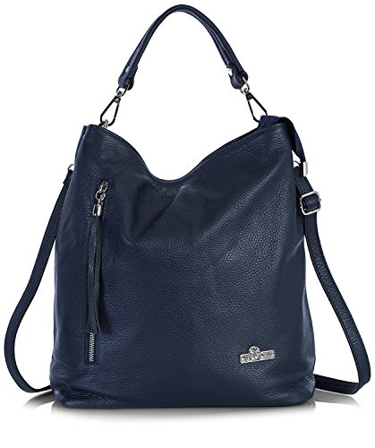 LiaTalia Womens Large Tote Handbag Italian Leather - Large yet Trendy Hobo Bag - GWEN [Navy]