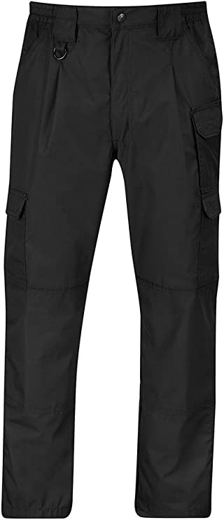 This is an image of the Propper pant, with two noticeable sidepockets, in black color.