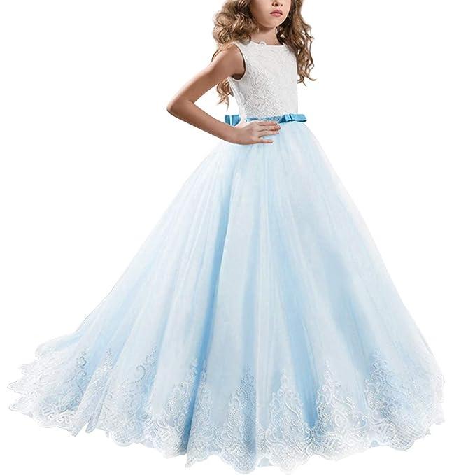 IWEMEK Princesa Vestido de Niña de Flores Appliques de Encaje Tul Bowknot Boda Vestidos de Dama de Honor Comunión Cumpleaños Carnaval Pageant Bola ...