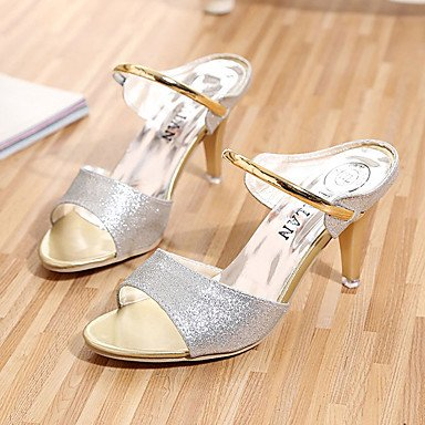Women's Sandals Heel Purple Black Spring CN35 4in Comfort 1in FYios Loop Comfort 1 Silver Casual Sequin 3 EU36 US5 5 amp; Gold Kitten Hook Dress 5 PU Summer UK3 d5Wnn