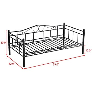 Giantex Twin Size Daybed Frame Metal Sofa Bed Solid Support with Headboard Guest Dorm Home Furniture