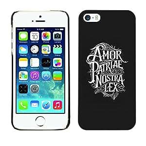LECELL--Funda protectora / Cubierta / Piel For Apple iPhone 5 / 5S -- Amor Patriae Nostra Lex Patriotic Text --