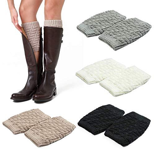 Adpartner Boot Socks for Women, 4 Pairs Short Leg Cuffs Winter Boots Socks, Fashion Crochet Knitted Leg Warmers (A)