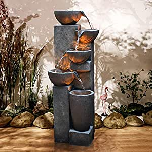 D&F Gardenfans Water Fountain Outdoor Indoor Polyresin Decor for Garden Yard Court