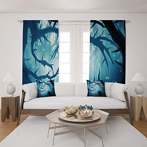 2 Panel Set Satin Window Drapes Living Room Curtains and 2 Pillowcases,Burning Eyes in Dark Forest at Night Horror Halloween,The perfect combination of curtains and pillows makes your living room warm